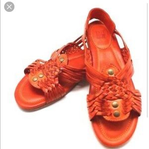 FRYE Jacey Huarache studded Orange Sandal